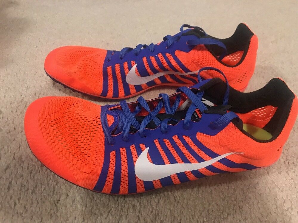 NWOB Nike Zoom D Distance Track Spikes Men's 11 orange bluee
