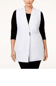 Alfani Vest 20w Womens Sleeveless Crepe Jacket White Pockets Deep V Neck New