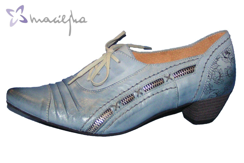 Maciejka Damen Pumps Schnürpumps Denim Blau Metallic Leder 02264-03-00-5 NEU