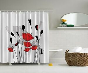 Image Is Loading Elegant Floral Poppy Digital Print Shower Curtain Gray