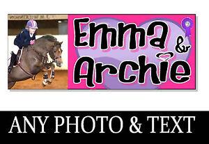 Nom personnalisé s & photo cheval poney acrylique signe plaque porte stable cadeau tack  </span>