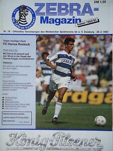 Programme 1992/93 MSV Duisburg-Hansa rostock  </span>