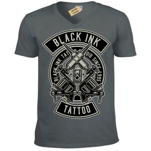 Black-Ink-Tattoo-T-Shirt-tattooist-artist-Mens-V-Neck