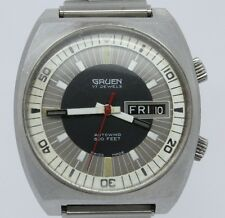 VINTAGE Gruen Precision 600ft Divers Style Mens 37mm Automatic Steel Watch 731CD