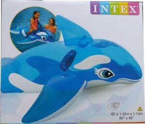 INTEX AUFBLASBARER Reittier Kleiner Blauer Wal Kinderbadespaß 152 x 114 cm Schwimmen Wasser