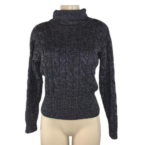 Sz Sm SILVER Metallic TURTLENECK Sweater