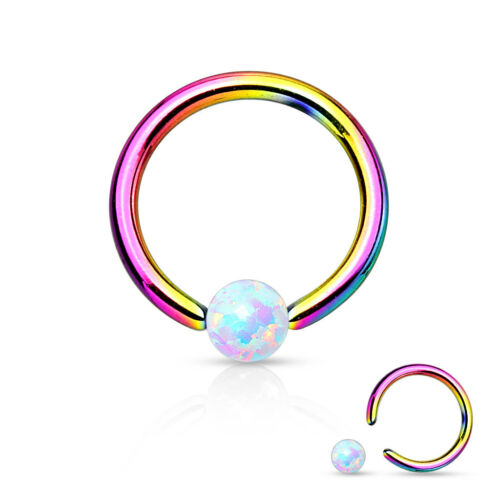 Synthetic Opal Surgical Steel Circular Barbell Nose Septum Captive Bead Ring 16g