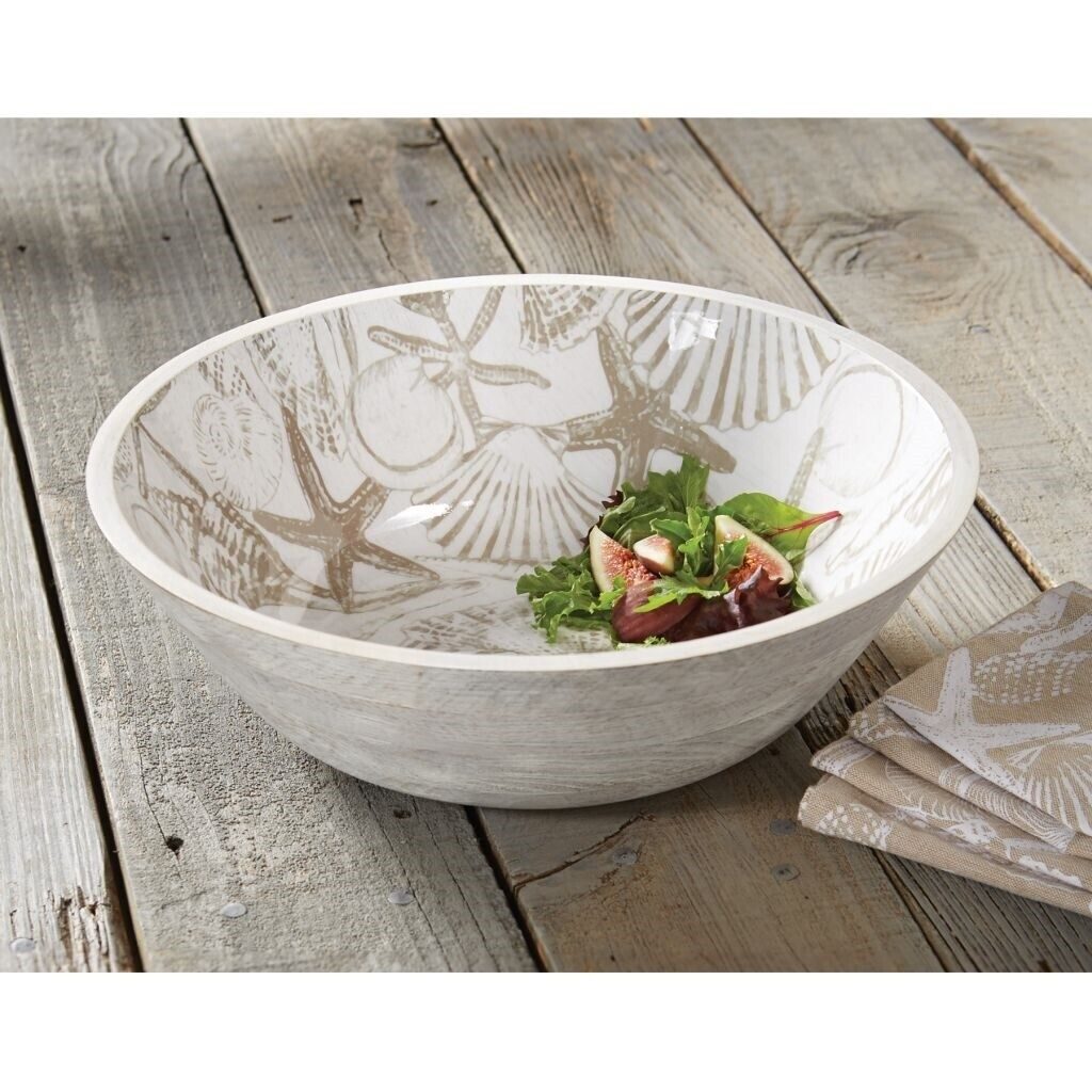 Mud Pie E9 Natural Beauties Dining Ceramic Shell Salad Wood & Enamel Bowl 5x14in