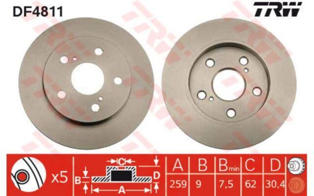 TRW Juego de 2 discos freno 259mm TOYOTA COROLLA AURIS FAW DF4811