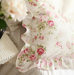 Shabby-Chic-Cottage-Floral-Ruffled-Square-Cushion-Pillow-Cover-White-Cotton