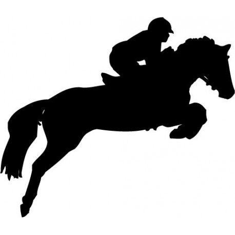 Autocollant Cheval stickers adhesif horse cavalier bleu 17 cm