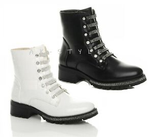 NEW WOMENS COMBAT ARMY MILITARY BIKER FLAT LACE UP WORKER ANKLE DIAMANTE BOOTS