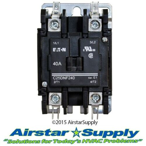 Cutler Hammer Contactor 40 Amp • 2 Pole • 24V Coil C25DNF240T Eaton