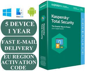 100% Vrai Kaspersky Total Security 5 Pc/appareil Année 1 Code D'activation Ue Zone 2019 E-mail-afficher Le Titre D'origine