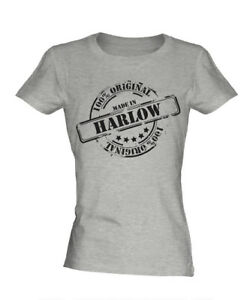 MADE IN HARLOW LADIES T-SHIRT GIFT CHRISTMAS BIRTHDAY 18TH 30TH 40TH 50TH 60TH