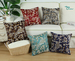 Square-Pillows-Throw-Cushion-Covers-Shell-Jacquard-Florals-Decor-45X45cm-50x50cm