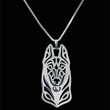 German Shepherd Dog Canine Collection Silver Tone Metal Fashion Pendant Necklace