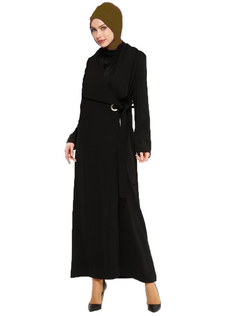 V-678 Tesettür Sal Yaka Ferace-Hijab Kleid-Abaya-Schalkragen