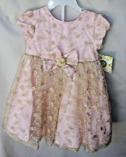 LITTLE ME SPECIAL OCCASION 2 pc Light Pink /& Gold Dress w//Panty 18 MONTHS NWT