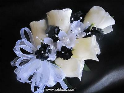 SILK IVORY ROSEBUDS with WHITE RIBBON WRIST Corsage for the special day