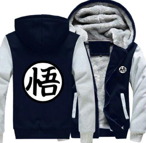 Men/'s Dragon Ball Wu Anime Sweatshirts Winter Fleece Lined Hoodies Jacket Coat