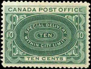 Canada-Mint-NH-1898-F-VF-Scott-E1-10c-Special-Delivery-Stamp