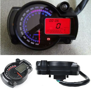 Multi-function Motorcycle LCD Digital Speedometer Tachometer