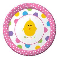 "Easter Chick Celebration 8 Dessert 7"" Plates Spring Party Polka Dot"