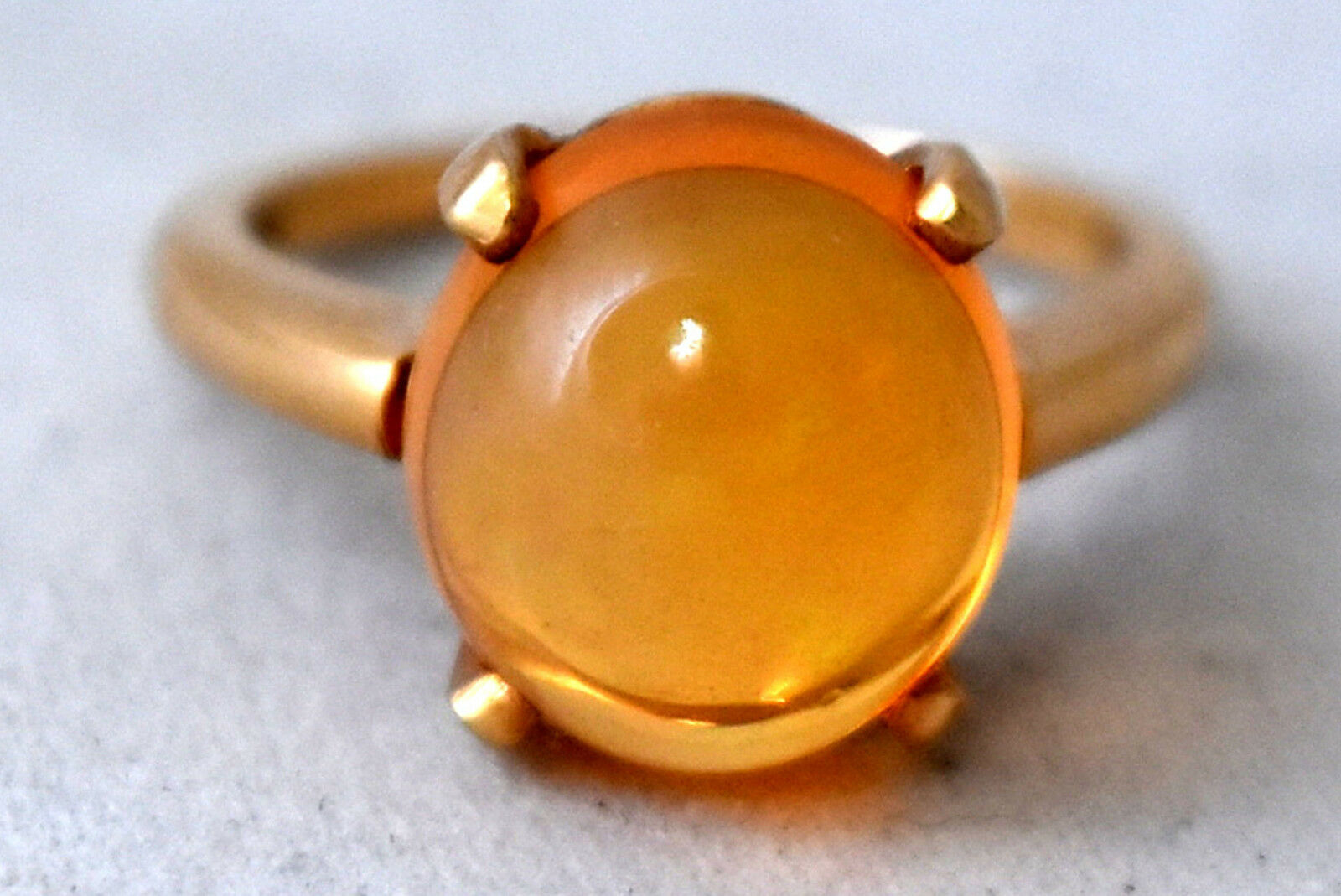 Beautiful 14K Solid Yellow gold Natural Australian orange Opal Ring Size 5 3 4