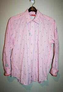 Mens-Robert-Graham-Pink-Button-Down-Dress-Shirt-Long-Sleeve-Embroidered-XL