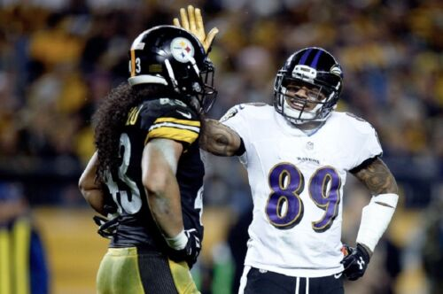 AWESOME STEVE SMITH TELLS TROY POLAMALU BETTER LUCK NEXT TIME RAVENS 8 x10