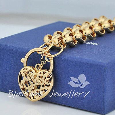 18CT 18K GOLD GF Heart PADLOCK BRACELET  with Belcher Ring CHAIN GS728