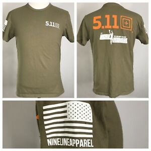 NINE-LINE-APPAREL-5-11-TACTICAL-BT-KARL-MALONE-ARMY-GREEN-T-SHIRT-MENS-SIZE-M