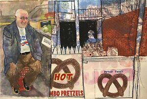 PERILLI NEW YORK MIXED MEDIA STREET VENDOR PORTRAIT STUDY PAINTING ILLUSTRATION