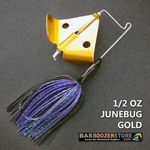 Buzzbait-RAPPER-1-2-oz-JUNEBUG-GOLD-buzz-bait-buzzbaits-KVD-trailer-hook