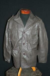 RARE-VINTAGE-1970-039-S-BROWN-LONG-LEATHER-JACKET-SIZE-LARGE