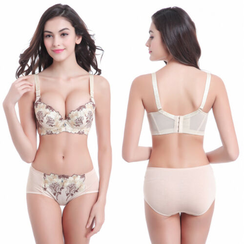 Women Lace Embroidery Bra Set Push Up Deep V Underwire Support Bralette Lingerie