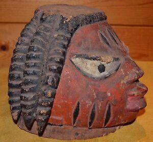 Very Old Antique Yoruba Tribe Made & Used Gelede Wood Helmet Mask