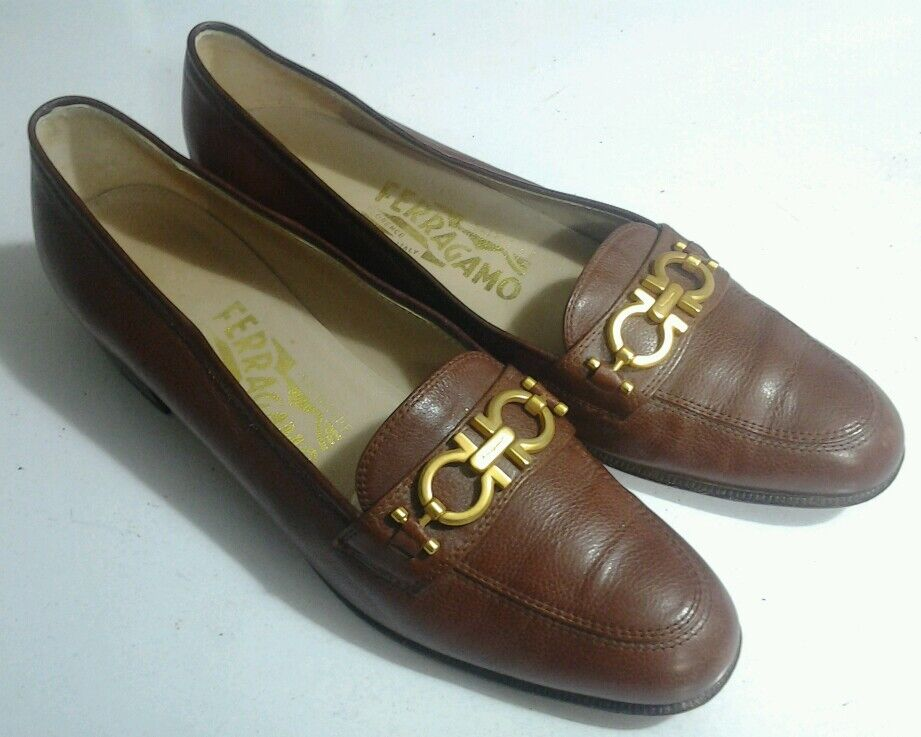 Salvatore Salvatore Salvatore Ferragamo Women's Sz 6.5 AA GANCINI Loafer Shoes Brown Gold Horsebit f4dd74