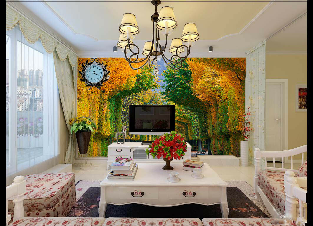 3D Grün Trees 4119 Wallpaper Murals Wall Print Wallpaper Mural AJ WALL UK Carly