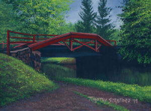 Mini Original Acrylic Painting Rainy Canal Bridge 9x12 by Timothy Stanford