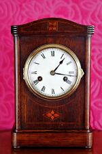 Antique German JUNGHANS Mantel Clock in Oak Case with Inlay and Chimes