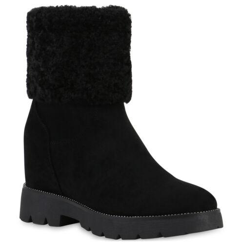 Damen Stiefeletten Keilabsatz Warm Gefütterte Boots Ketten 831825 Trendy Neu