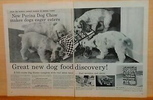 1957-two-page-magazine-ad-for-Purina-Springer-spaniel-pups-amp-Purina-Dog-Chow