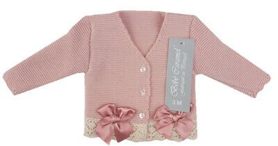 Girls Spanish Pink Ribbon and Bow Knitted Cardigan Spanish Baby Clothes