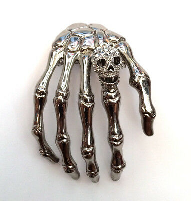 Butler and Wilson Small Skeleton Hand with Skull  Brooch Gold Tone New