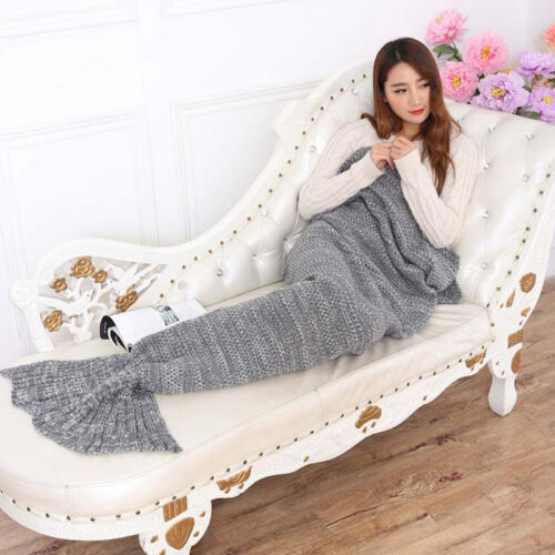 Adult Kid Mermaid Fish Tail Sleep Sofa Blanket Hand Crochet Knit Blanket Soft