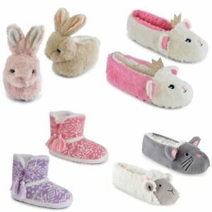 discount super popular running shoes Details about Kids Girls Slippers Boots Bootie Plush Animal Novelty Cute  Cosy Warm Fluffy Gift