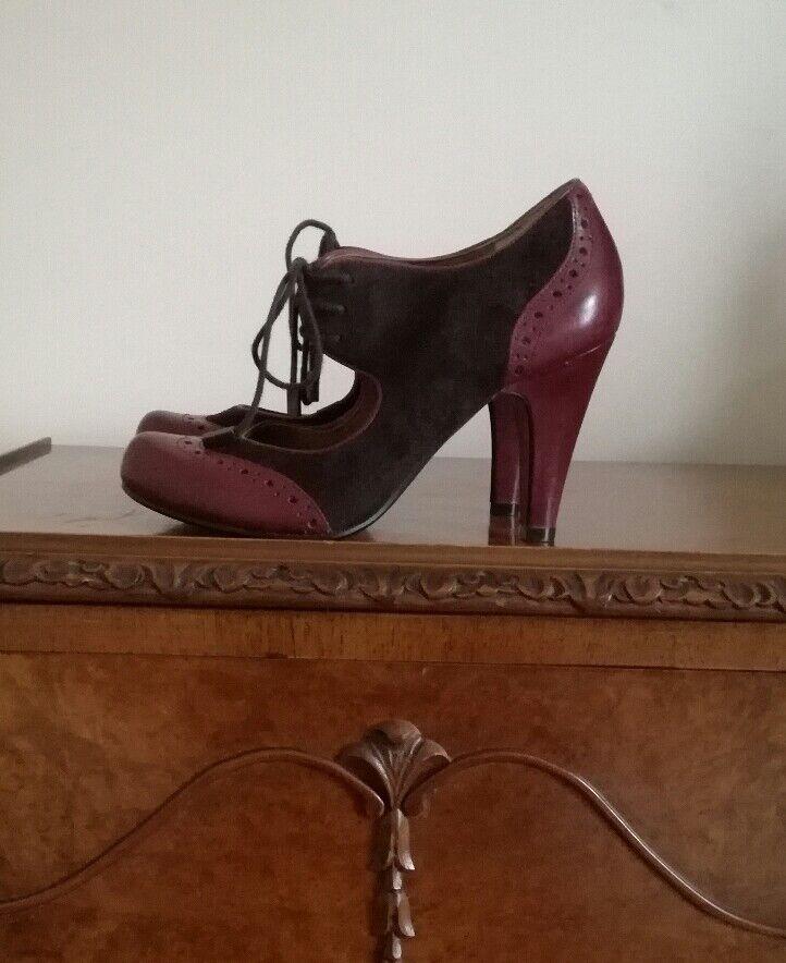 Bertie Est1974 Borgoña gamuza cuero cuero cuero Ciruela Tribunal Zapatos Tacones UK5 EU38 fabuloso  muy popular