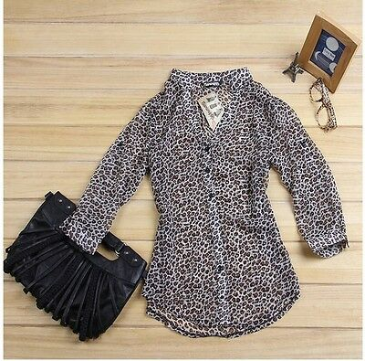 Women Shirt Top Korean Fashion Sexy Leopard Tin Chiffon Long Sleeve Blouse
